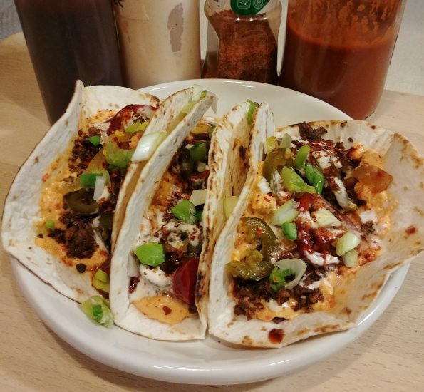pimento cheese taco cauliflower taco crumble pickled jalapenos scallions chamoy valentina tajin men at work