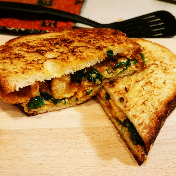 pimento at work - pimento cheese sauteed greens BBQ potato chips on grilled country bread