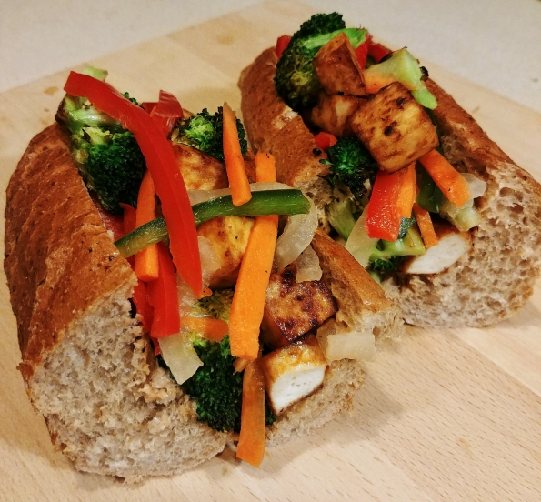 crispy tofu charred broccoli banh mi