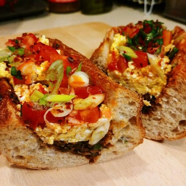morning glory black beans frambled eggs tomato cheese scallion sandwich breakfast