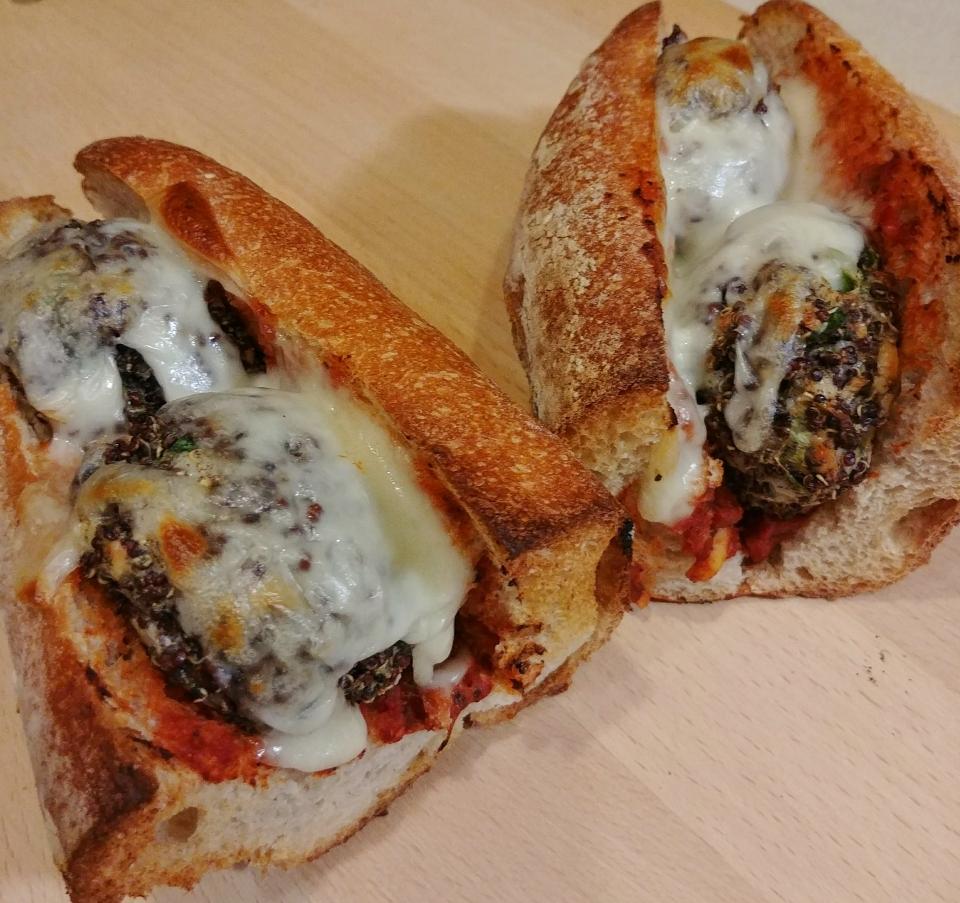 quinoa tifah quinoa balls marinara mozzarella sandwich
