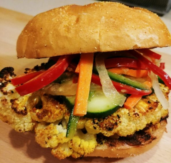 thai roasted cauliflower pickled vegetables cucumbers peanut sauce - thai your mother down