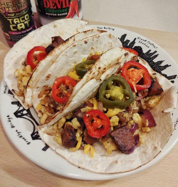 breakfast taco seitan brisket hashbrowns jalapeno cheddar supertramp