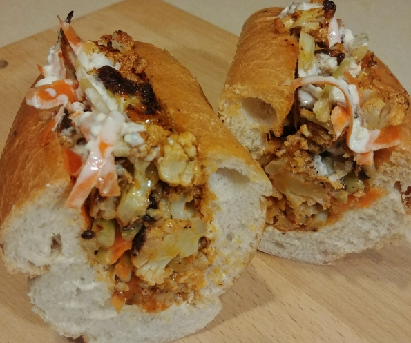 buffalo cauliflower blue sandwich