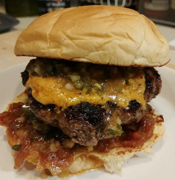 pimento cheese burger jalapeno pickle relish tomato jam mustard sauce