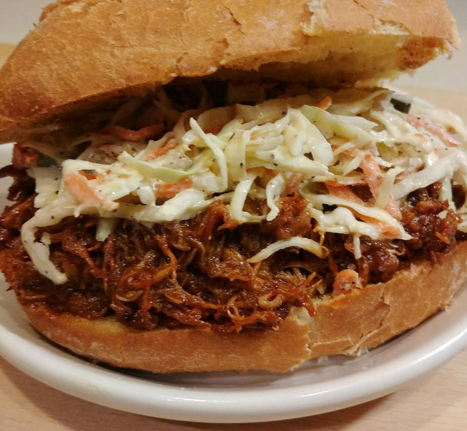sweet bird of truth sweet bbq chicken pickle slaw portuguese roll