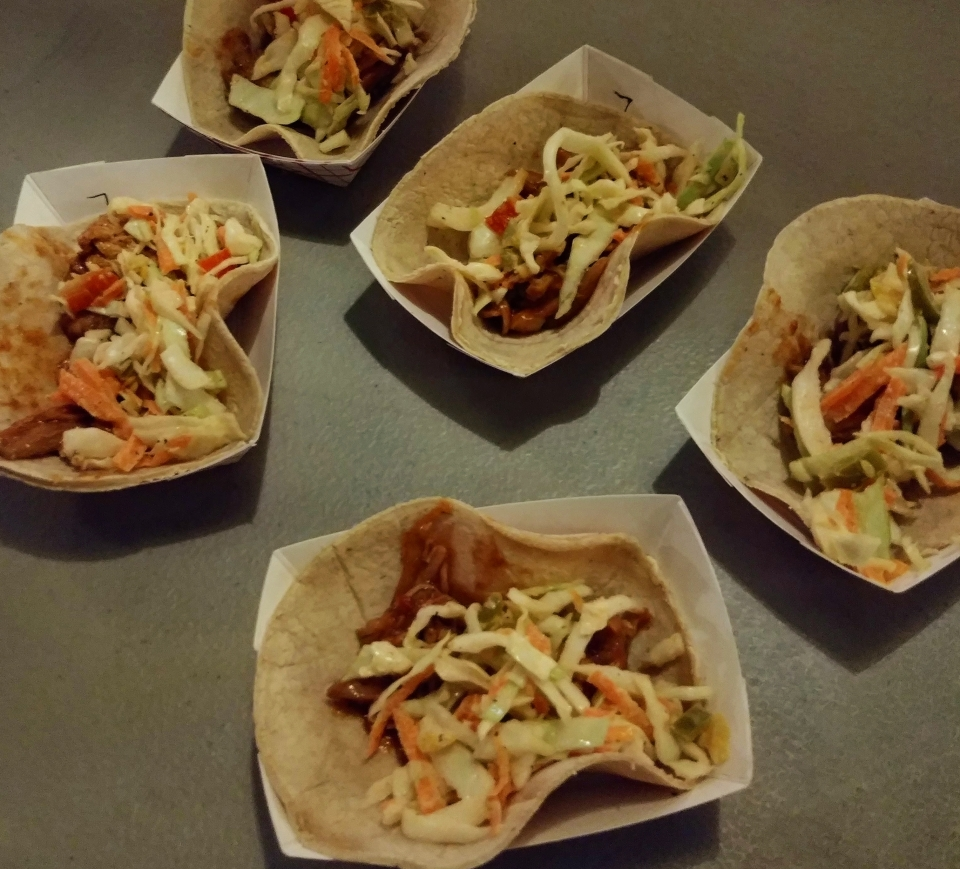 candied jalapeno bbq pulled chicken pickle slaw corn tortilla taco takedown