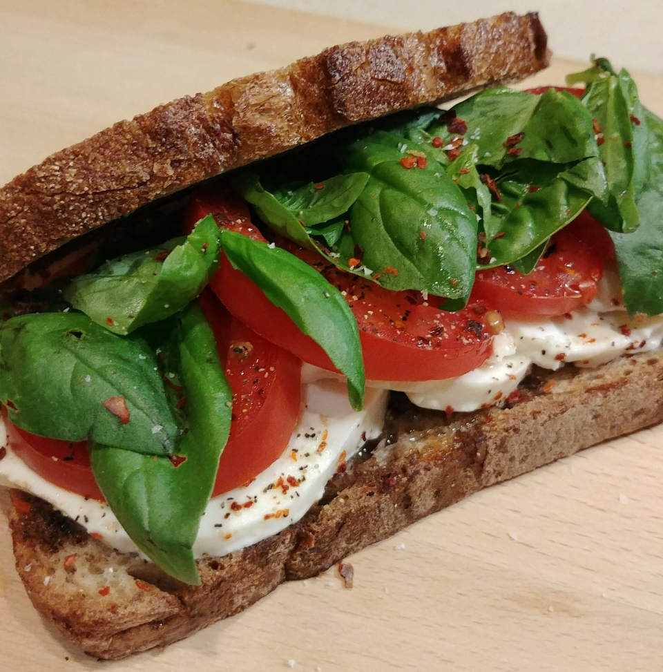 caprese sandwich fresh mozzarella tomato basil balsamic olive oil fine young cannibals