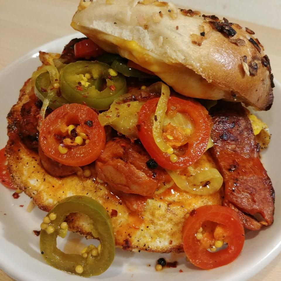 egg chorizo cheese sandwich jalapeno rolling stones