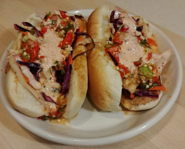 thai hot dog chile relish lime slaw sambal mayo peanut sauce murray head