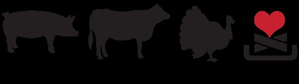 cha cha hut bbq logo pig cow turkey love