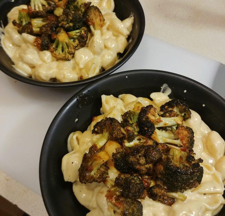 creamy mac and cheese with bang bang broccoli