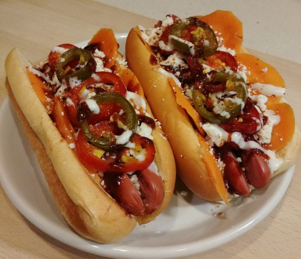 mexican radio hot dog carrot pickles chamoy sauce cotija jalapenos sour cream valentina wall of voodoo