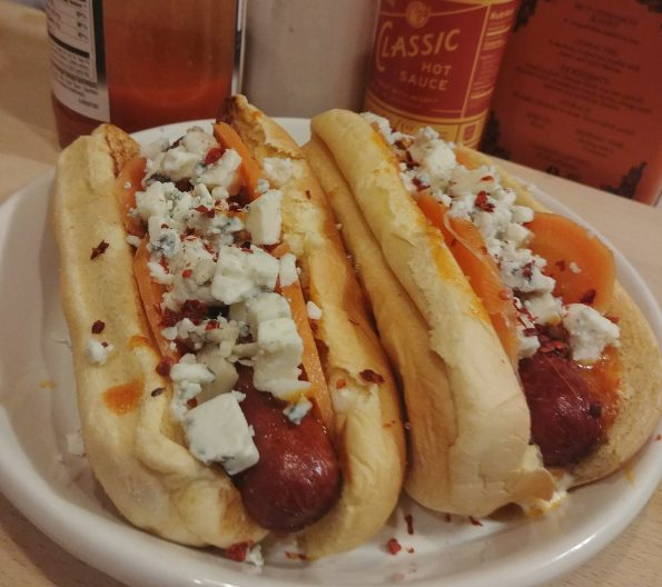 buffalo hot dog deep fried hot saquce blue cheese dressing pickled carrots blue cheese crumbles neneh cherry