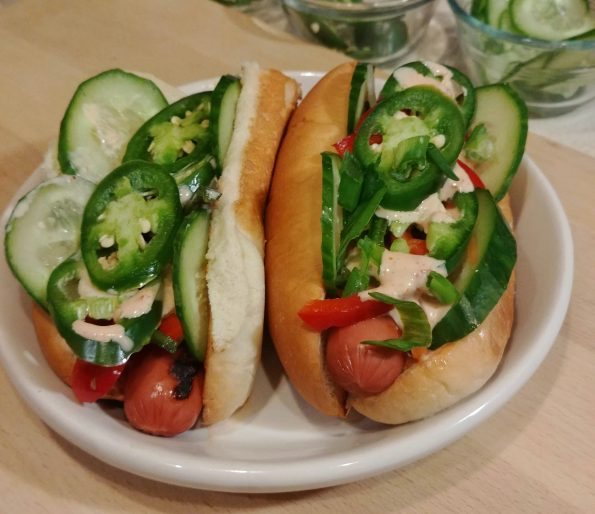banh mi hot dog sambal mayo cucumbers pickled vegetables jalapenos hanoi rocks