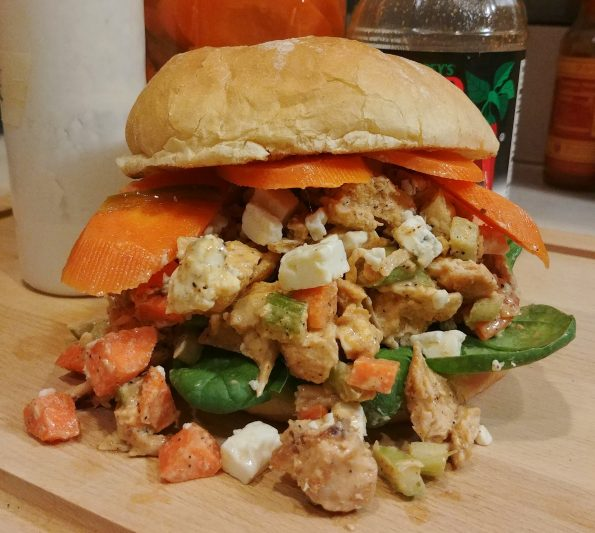 buffalo chicken salad blue cheese dressing blue cheese crumbles carrot pickles baby spinach prince