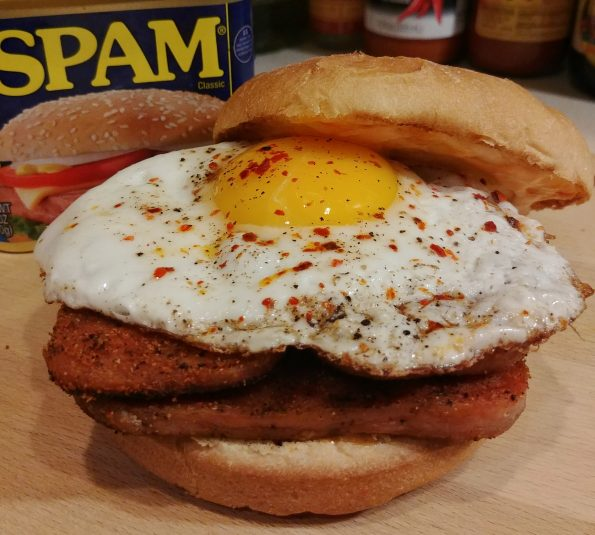 grilled spam fried egg sambal mayo beastie boys