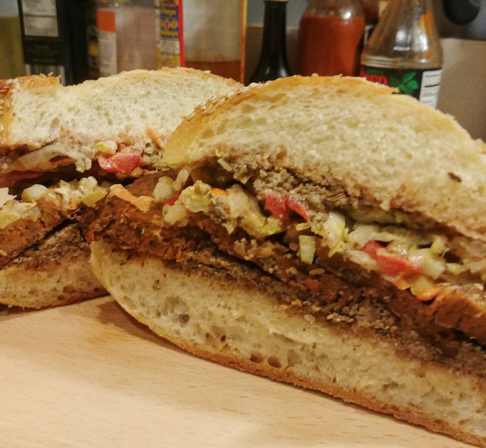 sundried tomato mushroom seitan walnut pate slaw sandwich clap your hands say yeah