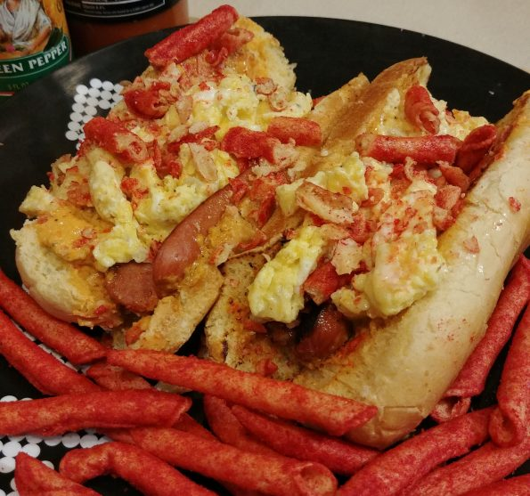 beef hot dog pimento cheese scrambled eggs takis kate tempest