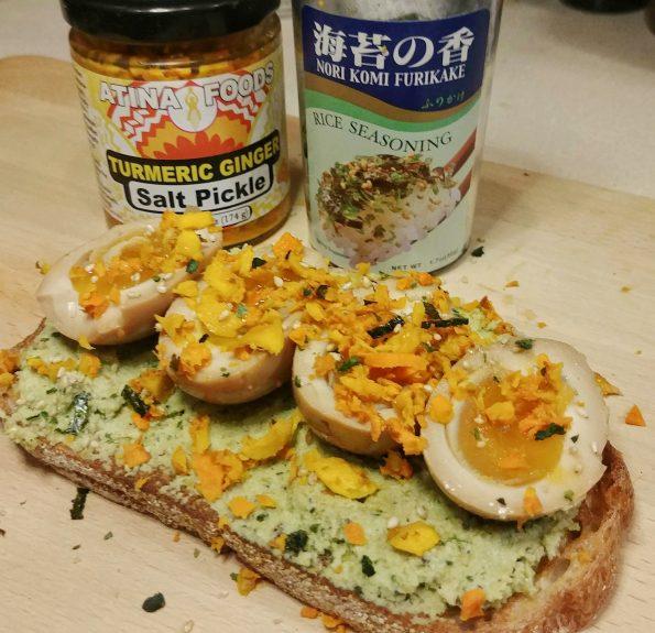 edamame toast mayak egg turmeric ginger pickle llcool j