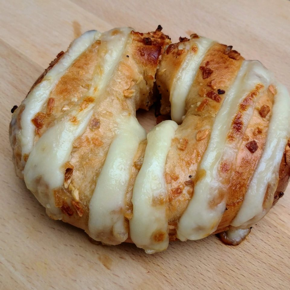 hasselback bagel mozzarella garlic off
