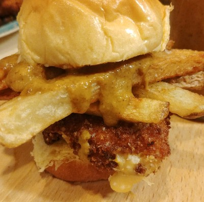 disco fries fried cheese slider curry edam kansas