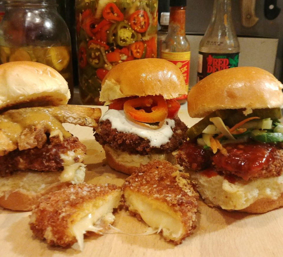fried edam sliders fries curry pickled jalapeno bbq sauce bok choy slaw sophie b hawkins