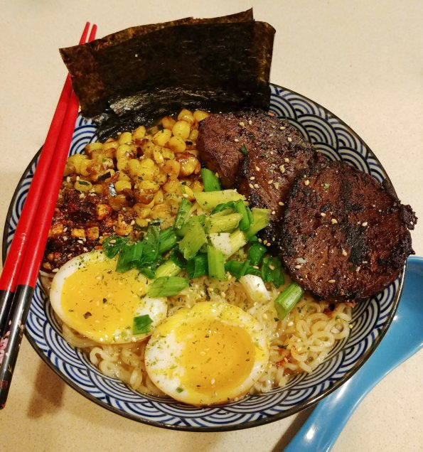 tonkatsu ramen korean bbq seitan sesame fried corn mayak egg