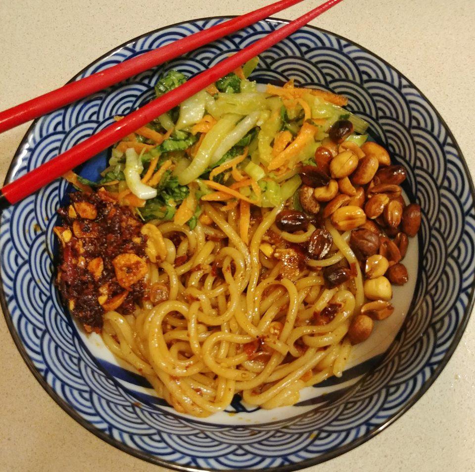 chili crisp noodles fried peanuts napa cabbage prodigy