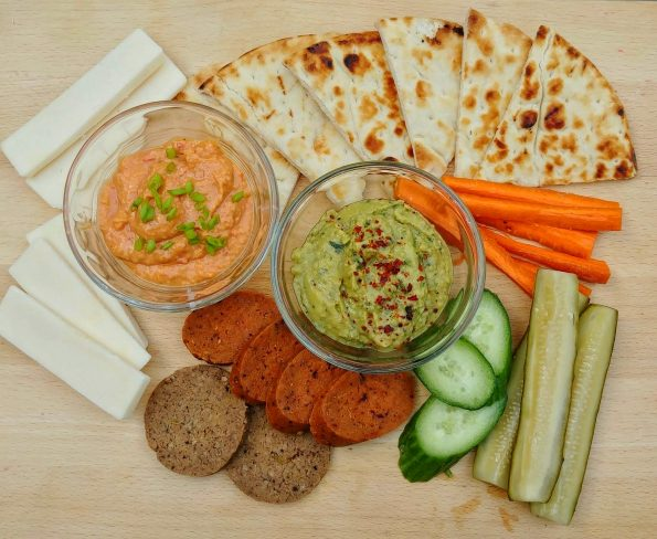 hummus platter seitan red pepper basil cheese flatbread pickles pete shelley