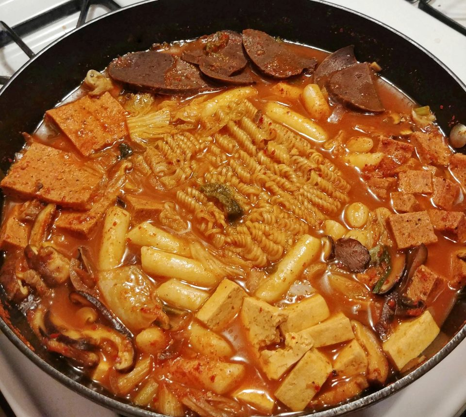 budae jjigae seitan sausage spam tofu mushroom spicy stew will smith