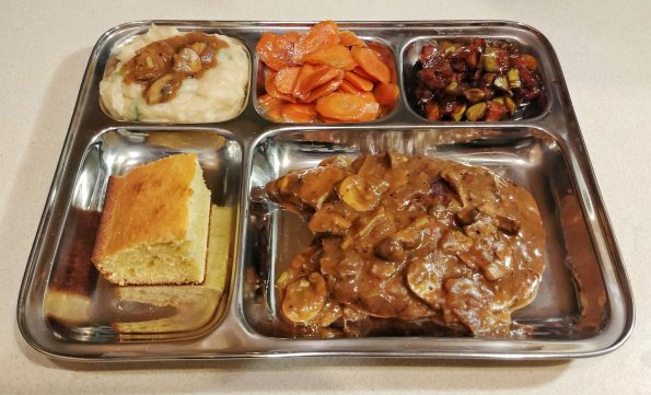 tv dinner nostalgia sailsbury seitan potatoes carrots apples cornbread peter gabriel