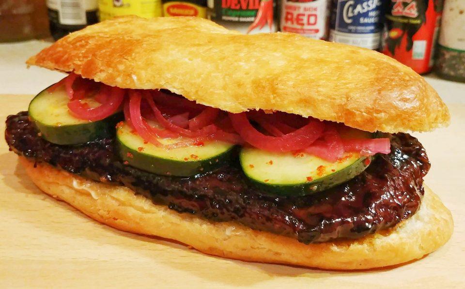 seitan ribwich char sui pickles onions mustard sauce johnny case